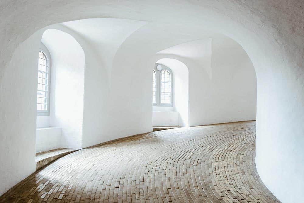 Climb up round tower for a city view in Copenhagen
