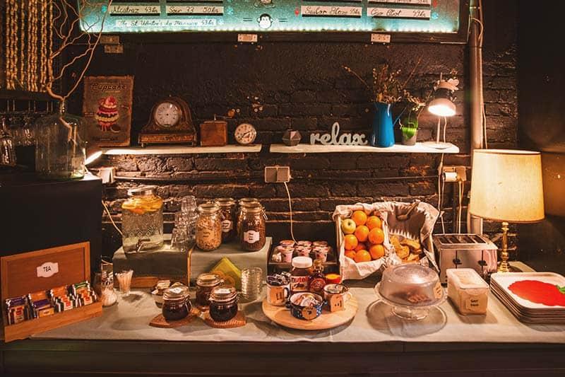 Breakfast Buffet at Swanky Mint, the 5 Star Hostel in Zagreb, Croatia