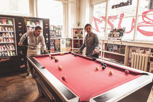 Cool Backpacker Hostels always come with a billiard pool or foosball table. At Hatters Hostel Manchester you have both