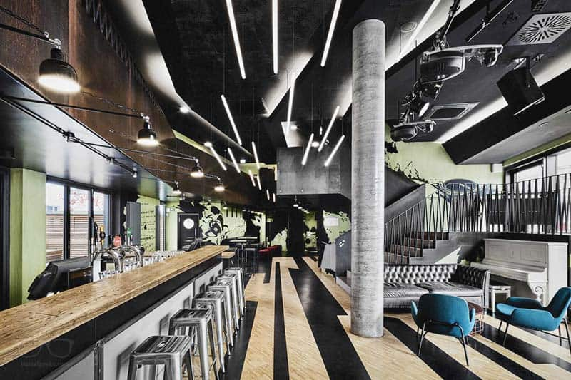 Cool and stylish common area at Generator Hostel, one of the top hostels in Hamburg, Germany