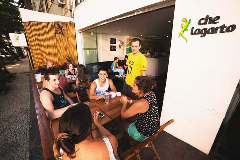 The meeting place for locals at guest at Che Lagarto Hostel Ipanema
