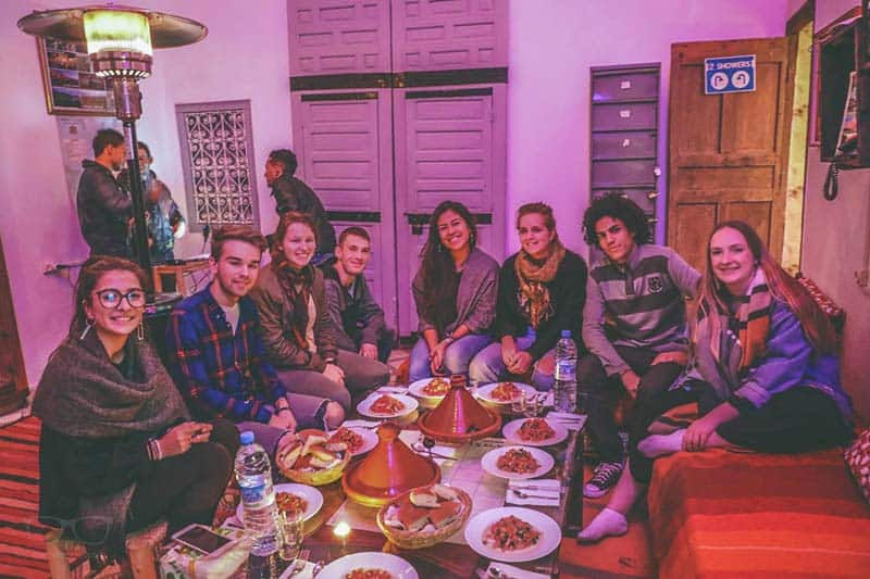 Family Dinner at Earth Hostel Marrakech