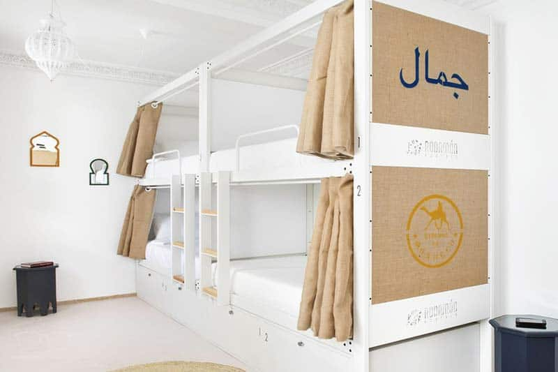Privacy Curtain and Solid Bunk Beds; Rodamon Hostel is a great place to stay in Marrakech