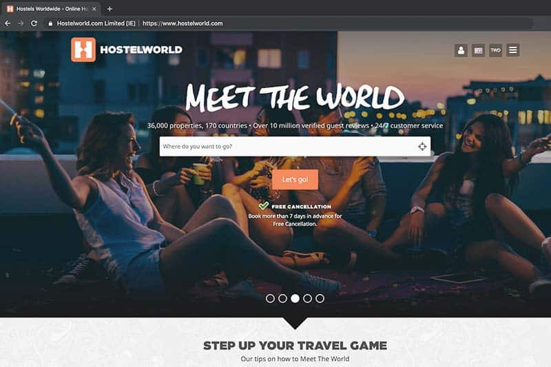 Screenshot of Hostelworld Landing Page