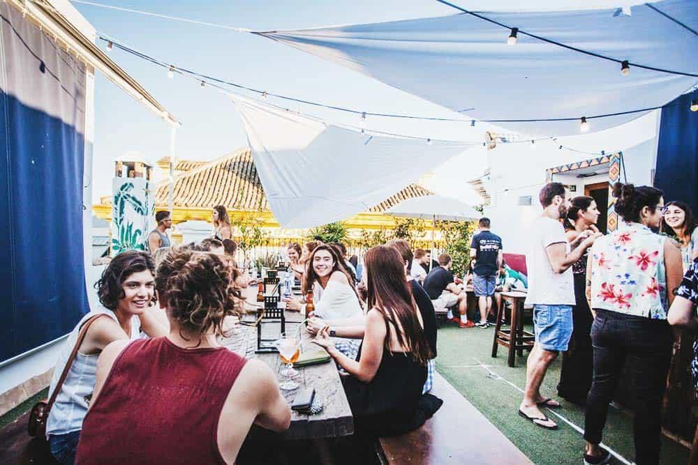 The best hostel in Seville for Solo-Travellers: La Banda Rooftop Terrace