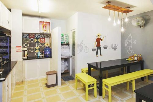 Guests can have make and have their own meals at Saigon Backpackers Hostel kitchen