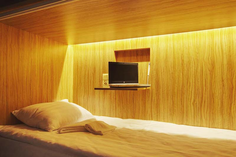 Each bed comes with your own personal night lite, desk and socket at Axel Hostel