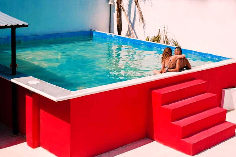 Swimming Pool at Coco Hostel, one of the coolest hostels in Cancun Mexico