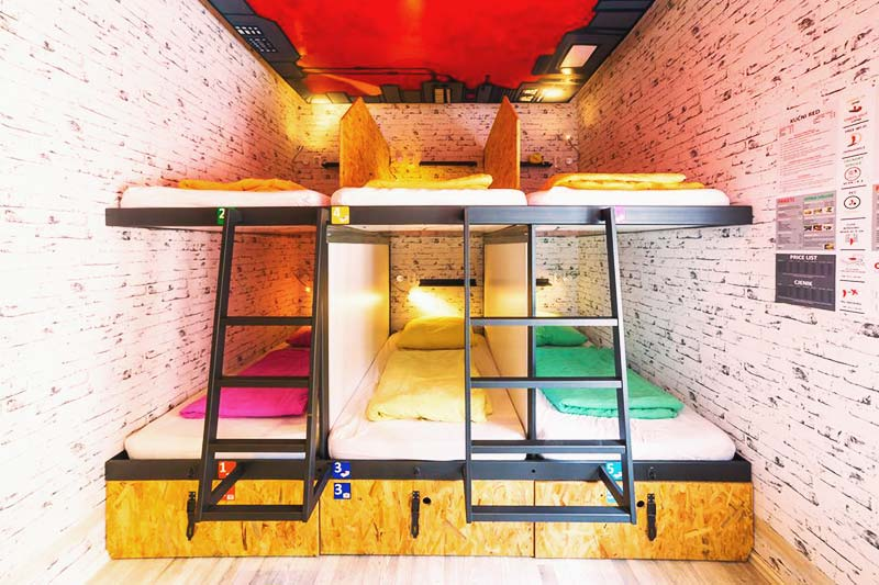 Colorful bunks beds at Chillout Hostel