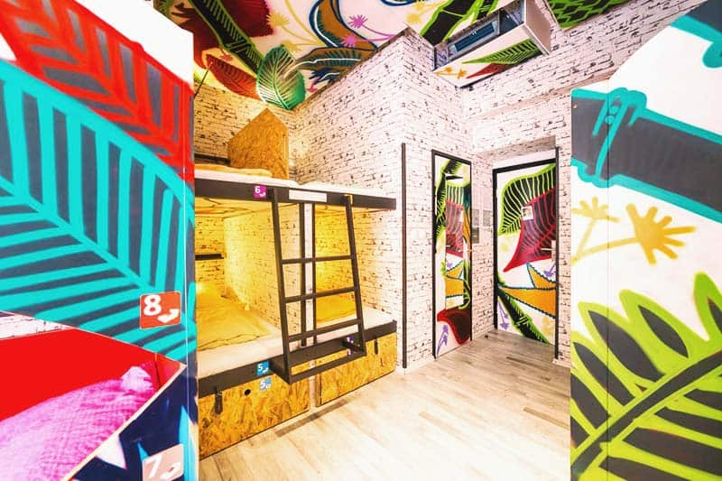 Artistic designs in each room at Chillout Hostel