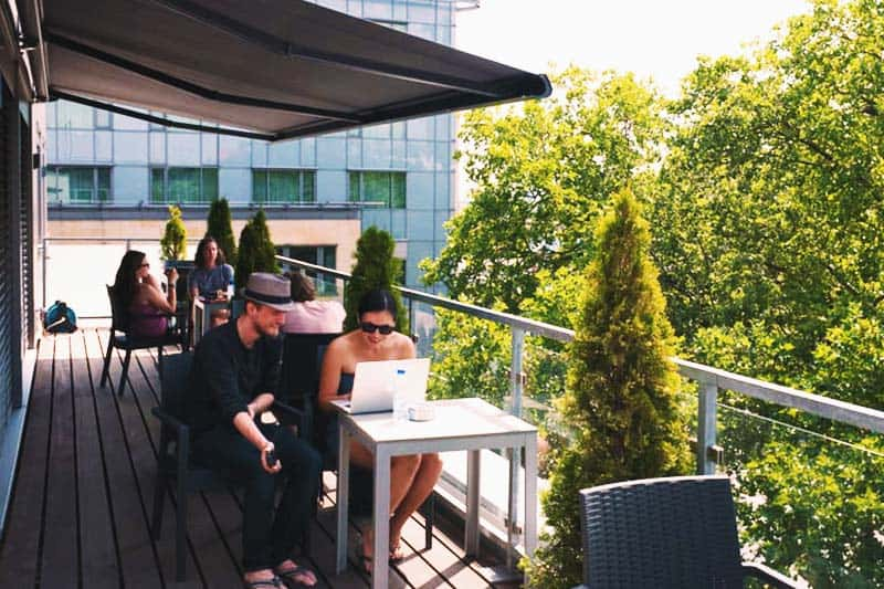 Enjoy the view at the Cologne Downtown Hostel terrace