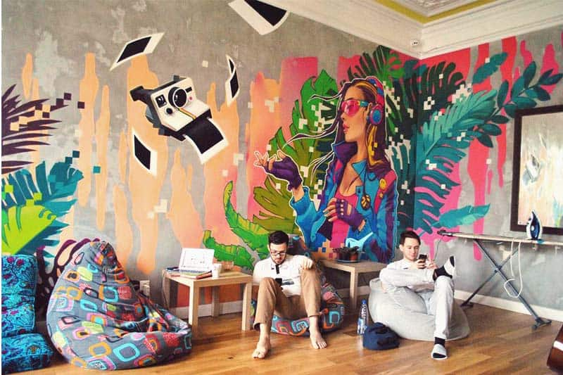 Jedi Hostel's very laid back common area in Moscow, Russia