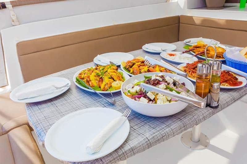 Food at the Luxury Catamaran Cruise in Santorini - yummy!!