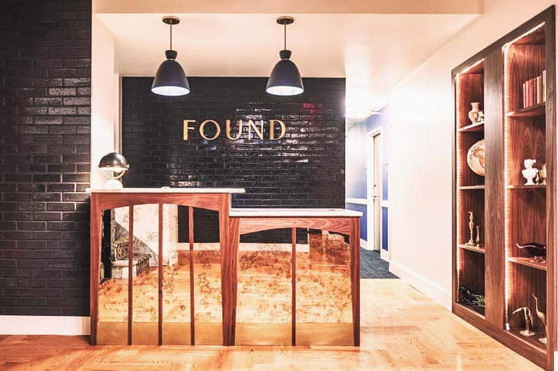 The reception area of Found Hotel