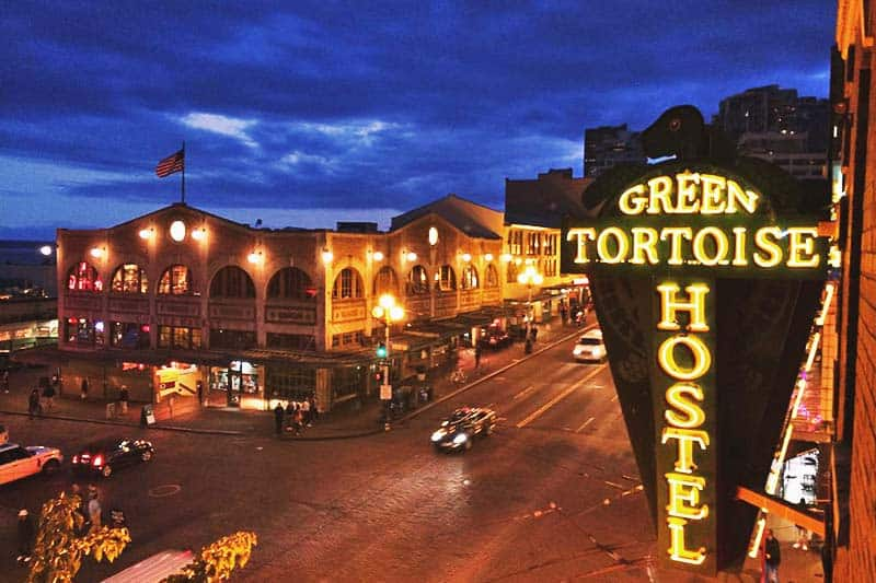 The nightlife in the city is just right around the corner of Green Tortoise Hostel