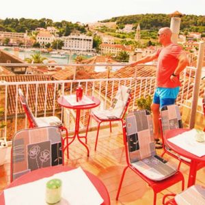 You can have your meals and drinks at Helvetia Hostel terrace