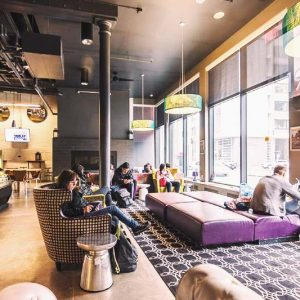 Stay and relax at HI Boston's lounge area