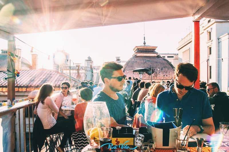 Enjoy your beer and the sunset at Pura Vida Sky Bar & Hostel