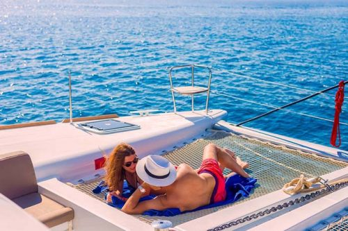 Hop on a Catamaran Volcano Tour in Santorini and enjoy your holidays proplery!