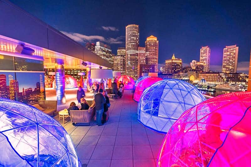 Experience igloos in the city of Boston in The Envoy Hotel