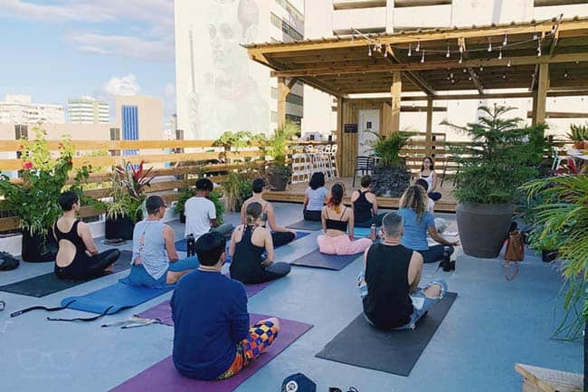 Yoga in San Juan's coolest hostel