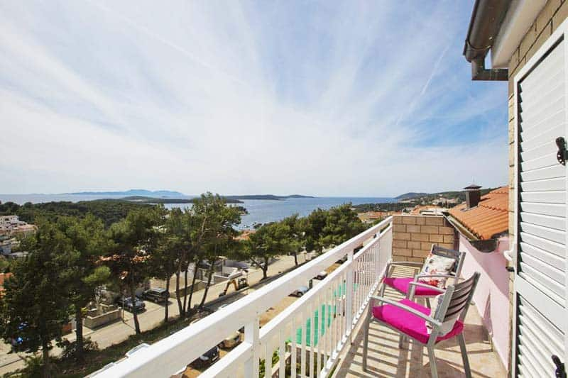 Your own balcony ocean view at Youth Hostel Villa Marija