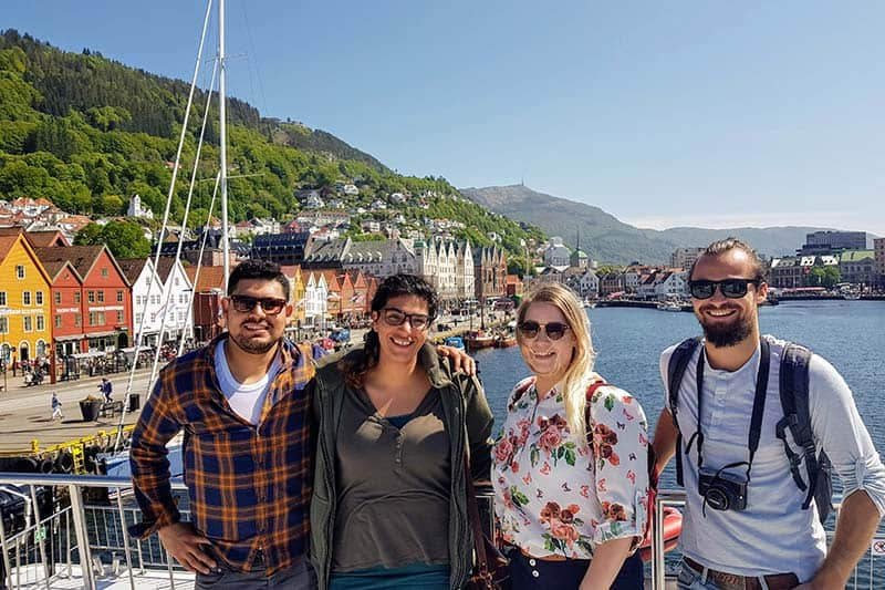 Backpackers enjoying Bergen