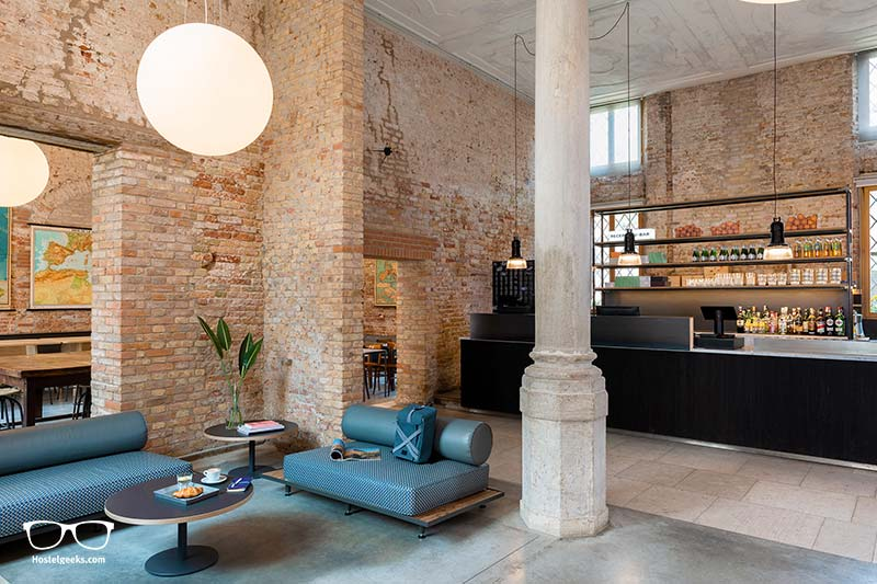Lounge at COMBO Hostel, the best place to stay for solo-travellers in Venice