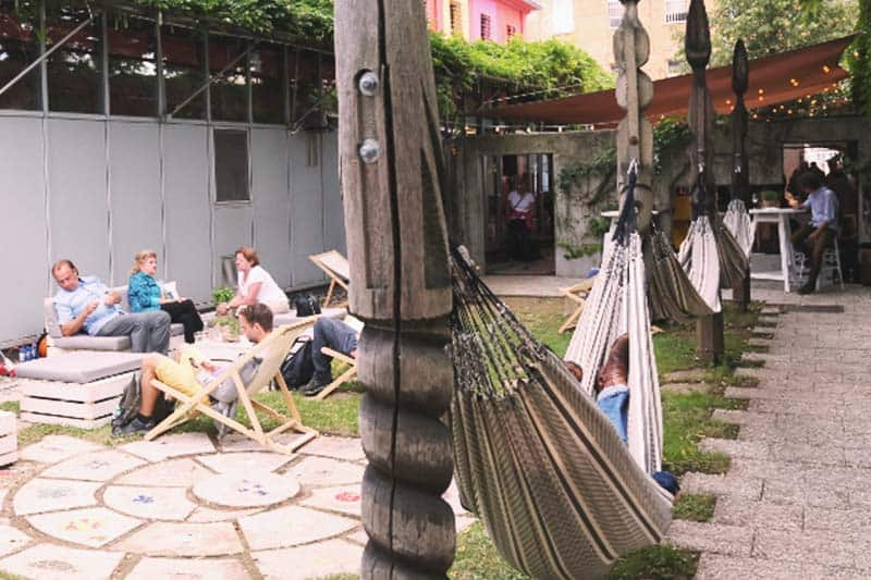 Lay back and relax at Hostel Celica's outdoor lounge