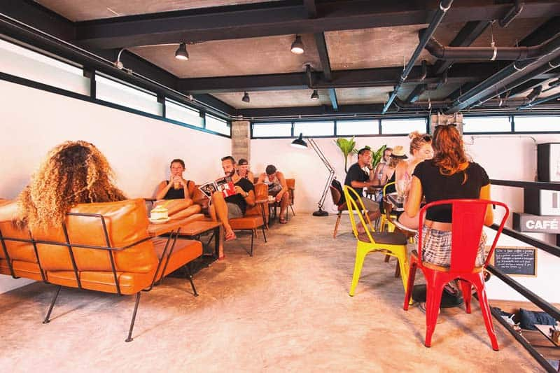 Kill time and relax at the Indie Hostel common area