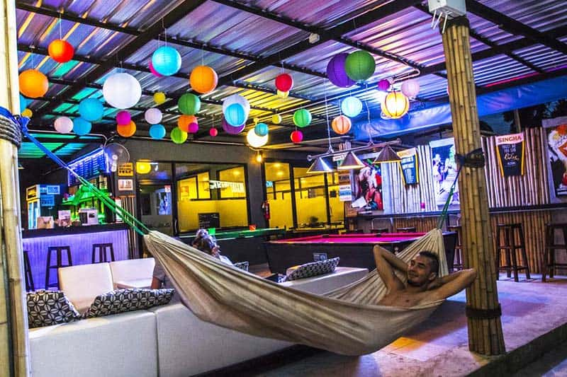 Hammocks are available at the shared lounge at Phanganist Hostel