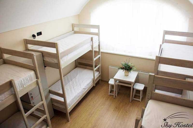 Enjoy well lighted rooms at the Sky Hostel