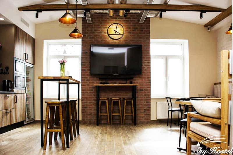 Relax and catch a movie at the Sky Hostel common room