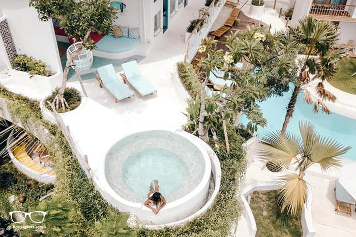 Relax and unwind in the Kos One Hostel jacuzzi, Canggu's only 5 Star Hostel
