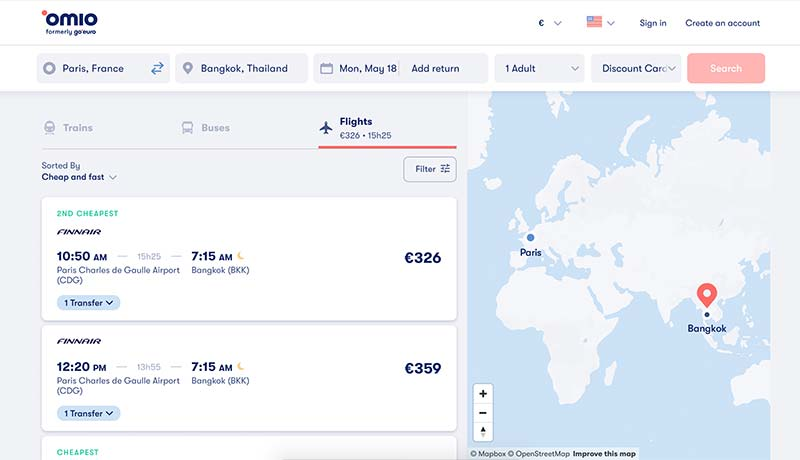 Finding Flights with Omio.com