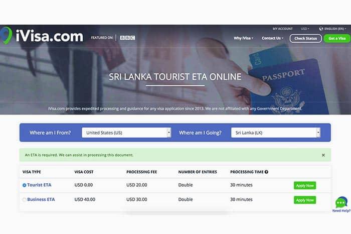 ETA for Sri Lanka