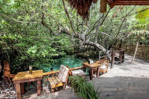 private cenote at a hostel in Bambu gran palas hostel in Tulum, Mexico