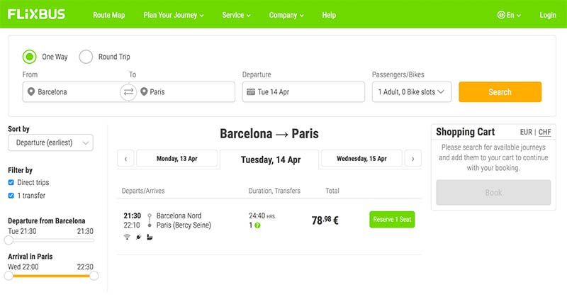 Checking prices for Flixbus from Barcelona to Paris