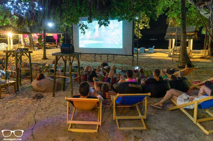 WAtch an outdoor movie in Goodtime Beach Hostel