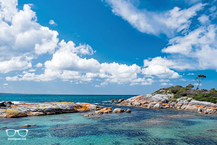 Visiting Bay of Fires is one of the fun things to do in Tasmania, Australia