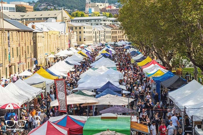 Treating yourself at Salamanca Market in Hobart is one of the fun things to do in Tasmania, Australia