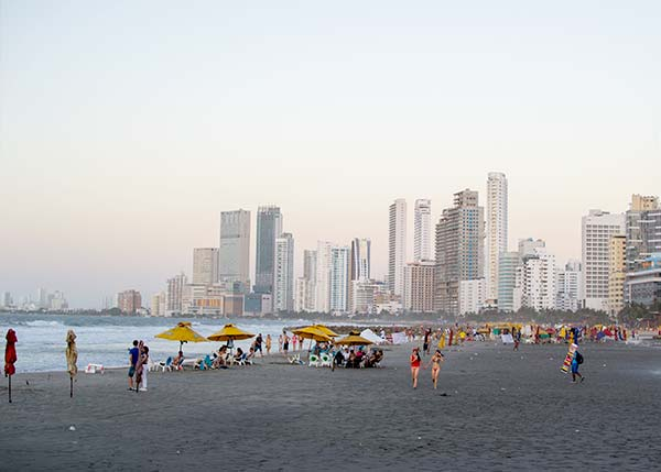 Bocagrande District; Beach and high buildings