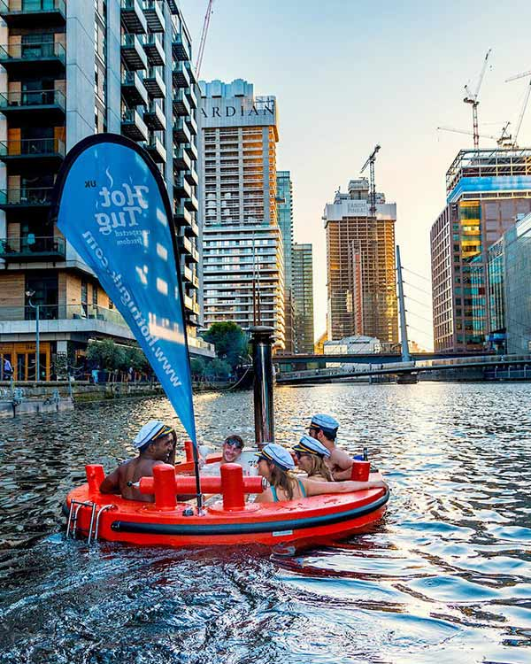 Hottug down a canal in London
