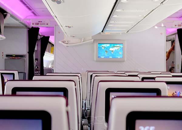 The inside of a Qatar Airways plane