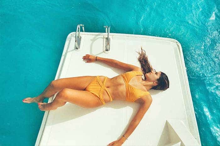 What to pack for Santorini Boat Tour? A Bikini is a great idea; but not a white one!