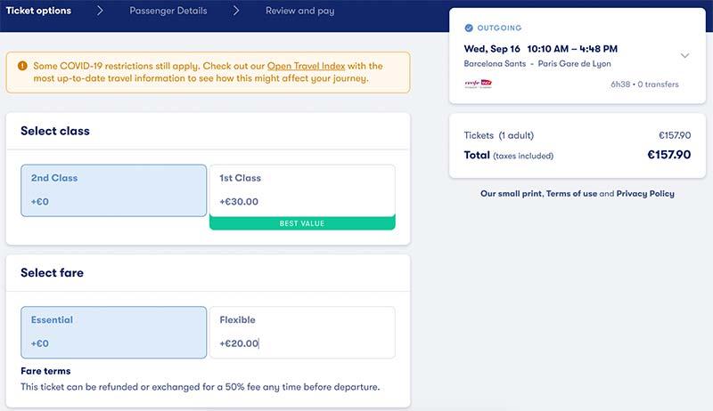 Choosing a Train Ticket with Omio.com