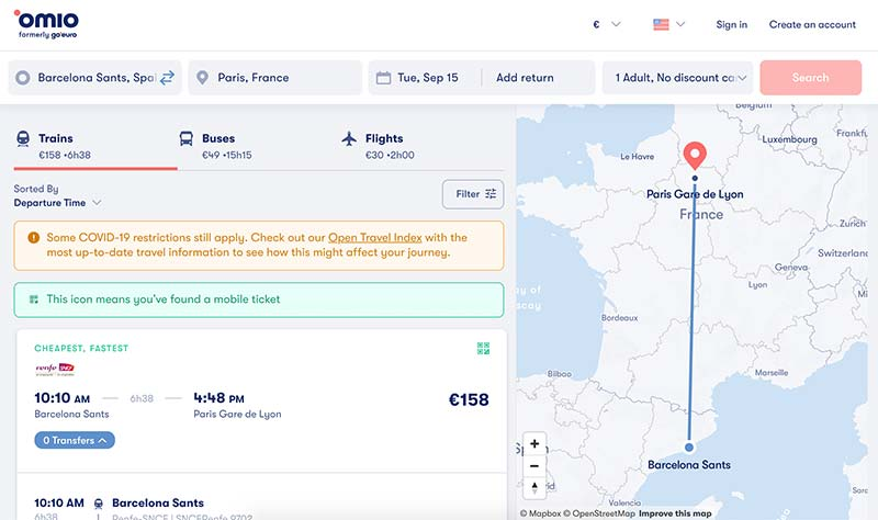 Booking a train from Barcelona to Paris with Omio.com