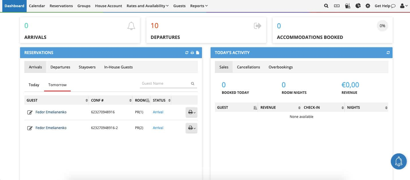Cloudbeds PMS: How to use the Dashboard feature