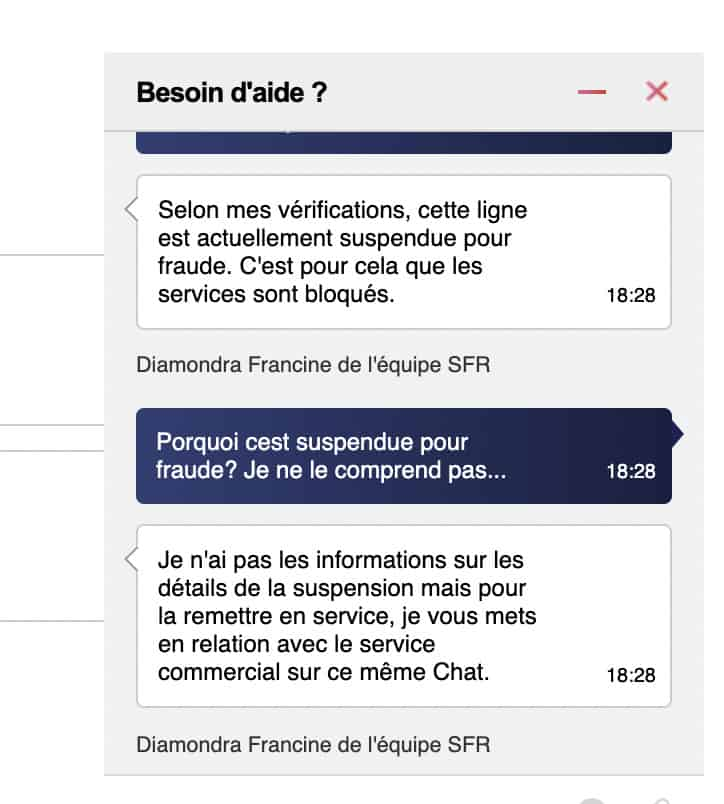 Live Chat Support by SFR France - simple advice but actually no help at all