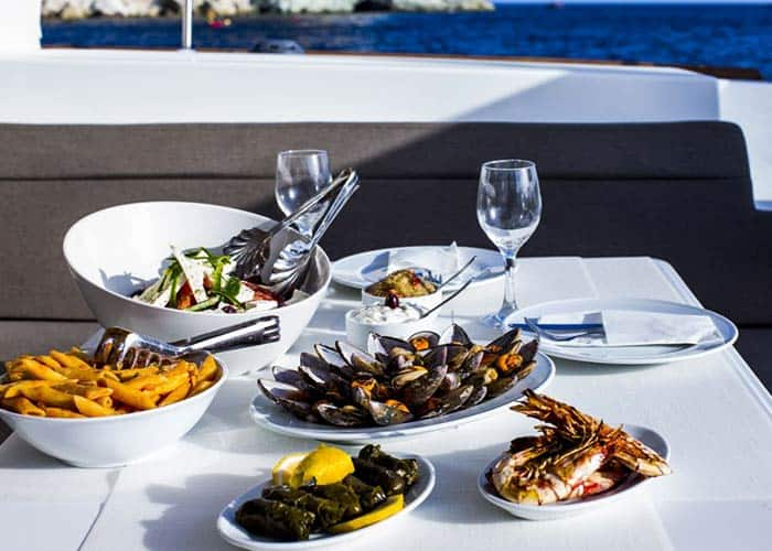 Greek Food and Wine: It does not get better than this private boat tour in Santorini